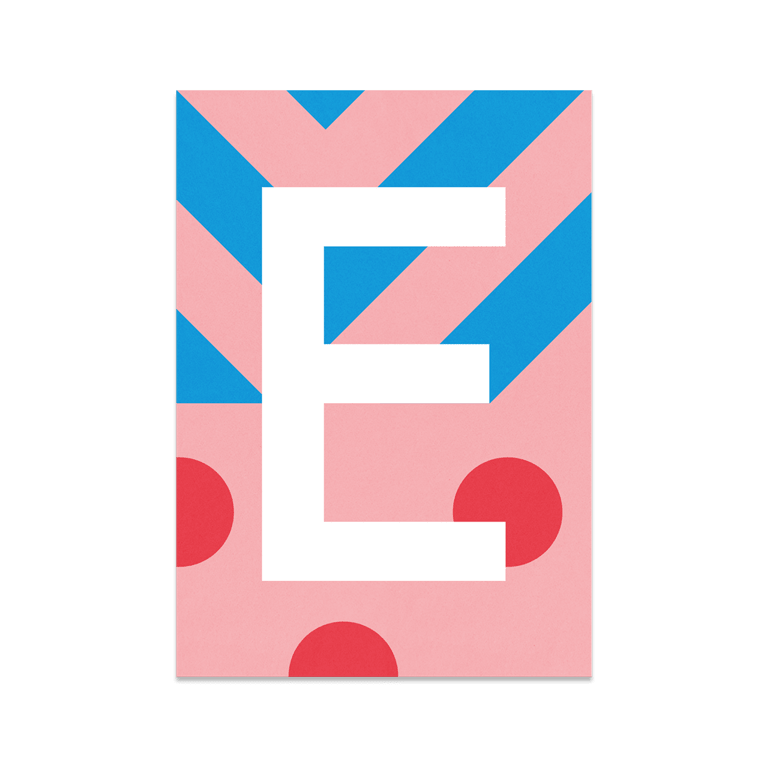"""Bunte ABC Karte """"E"""""""