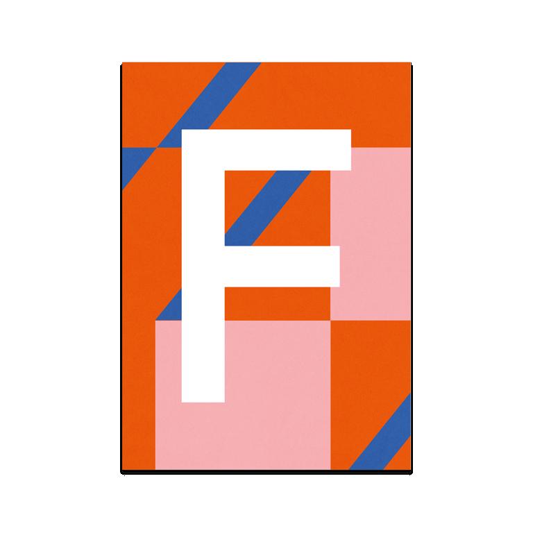 """Colourful ABC Card """"F"""""""