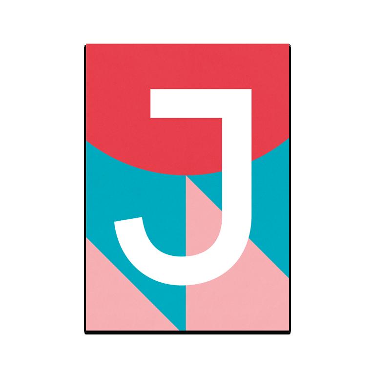 "Colourful ABC Card ""J"""