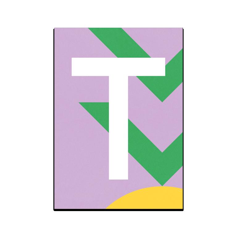 "Colourful ABC Card ""T"""