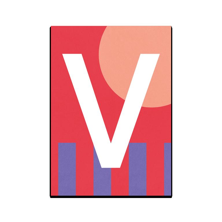 "Colourful ABC Card ""V"""