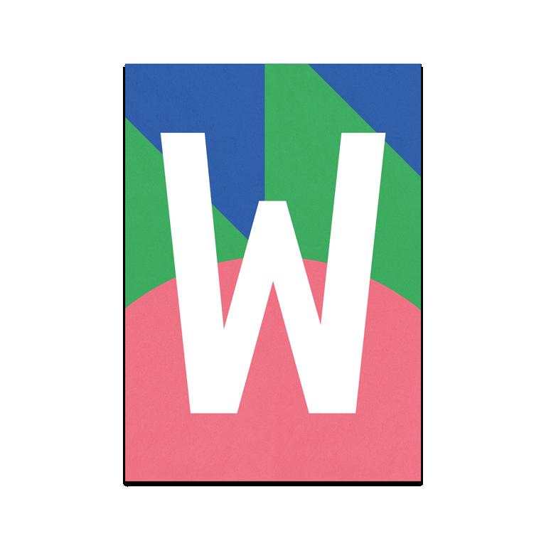 """Colourful ABC Card """"W"""""""