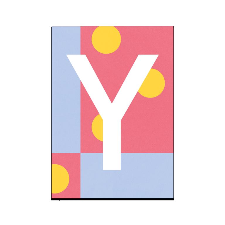 """Bunte ABC Karte """"Y"""""""