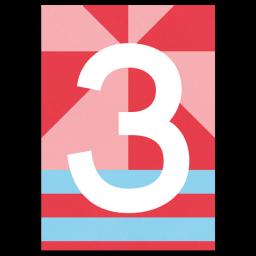 "Bunte Karte Zahl ""3"""