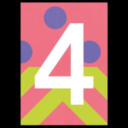 "Bunte Karte Zahl ""4"""