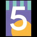"Bunte Karte Zahl ""5"""