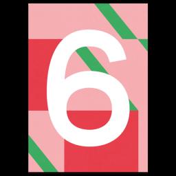 "Bunte Karte Zahl ""6"""