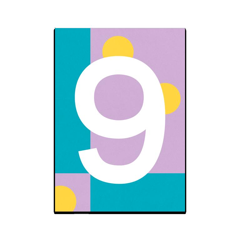 "Bunte Karte Zahl ""9"""